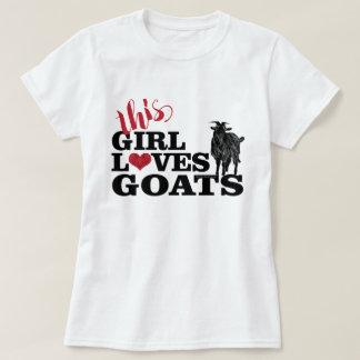 ヤギは|この女の子ヤギの酪農場の木びき台を愛します Tシャツ