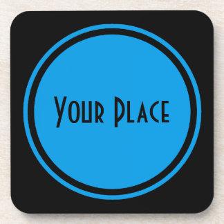 ヤグルマギクの青い円形の円形浮彫り コースター