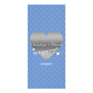 ヤグルマギクの青い銀製のハートの結婚式プログラムプログラム・カード ラックカード