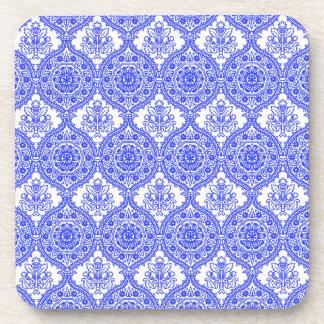 ヤグルマギクの青および白く旧式な装飾 コースター