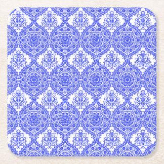 ヤグルマギクの青および白く旧式な装飾 スクエアペーパーコースター