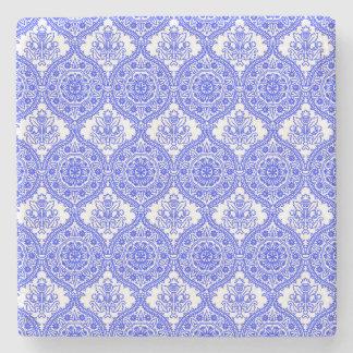 ヤグルマギクの青および白く旧式な装飾 ストーンコースター