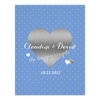 ヤグルマギクの青く、銀製の水玉模様の結婚式のフライヤ チラシ