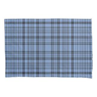 ヤグルマギクの青の格子縞 枕カバー