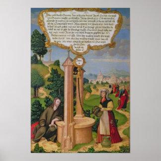 ヤコブの井戸のSamariaからのキリストそして女性 ポスター