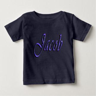 ヤコブの名前、ロゴ、ベビーの濃紺のTシャツ ベビーTシャツ