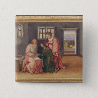 ヤコブ、c.1520を賛美しているアイザック 5.1cm 正方形バッジ