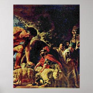 ヤコブJordaens著Polyphemusの洞窟のオデュッセウス ポスター