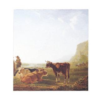 ヤコブvan Strijによって休息牛と美化して下さい ノートパッド