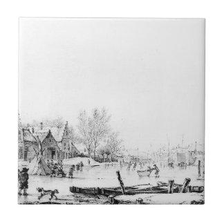 ヤコブvan Strij著冬Spuihaven Dordrecht タイル