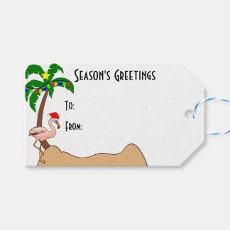 ヤシの木およびフラミンゴの熱帯クリスマス ギフトタグ