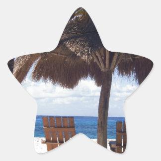 ヤシの木および椅子のメキシコのビーチ 星シール