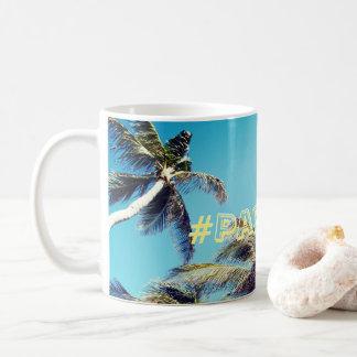 ヤシの木および楽園Hashtag コーヒーマグカップ