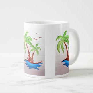 ヤシの木が付いている白いマグ ジャンボコーヒーマグカップ