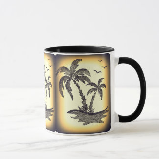 ヤシの木が付いている黒いコンボのマグ マグカップ