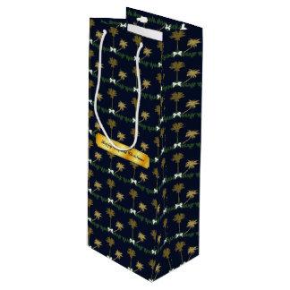 ヤシの木との青および金ゴールドの熱帯クリスマス ワインギフトバッグ
