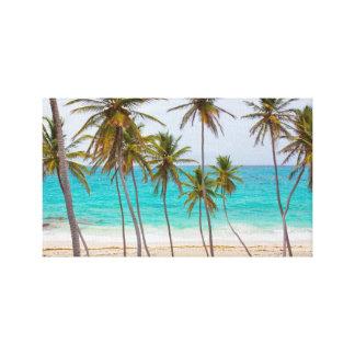ヤシの木と熱帯ビーチ キャンバスプリント