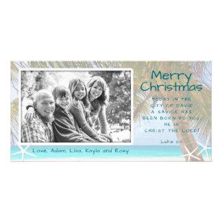 ヤシの木のキリスト教のビーチのクリスマスの写真カード カード