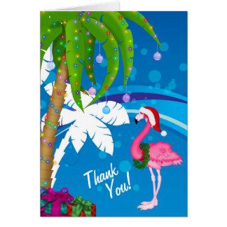 ヤシの木のサンタのフラミンゴの休日のビーチは感謝していしています カード
