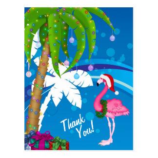 ヤシの木のサンタのフラミンゴの休日のビーチは感謝していしています ポストカード