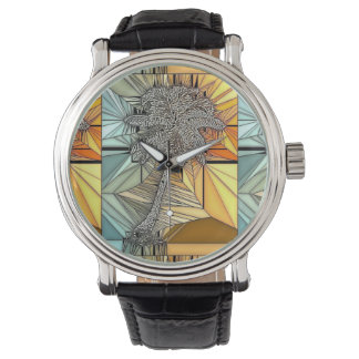ヤシの木のステンドグラスのスタイルの腕時計 腕時計
