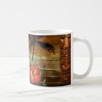 ヤシの木のトーテムの熱帯花のハイビスカスのハワイアン コーヒーマグカップ