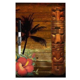 ヤシの木のトーテムの熱帯花のハイビスカスのハワイアン ホワイトボード