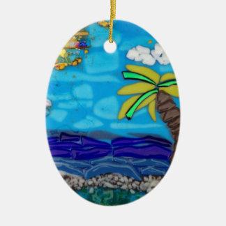 ヤシの木のビーチのオーナメント 陶器製卵型オーナメント