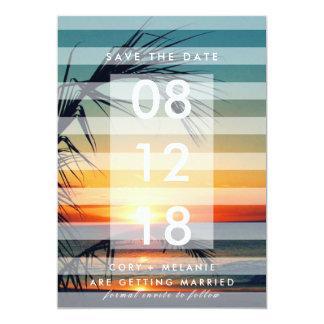ヤシの木のビーチの日没の写真の保存日付 カード