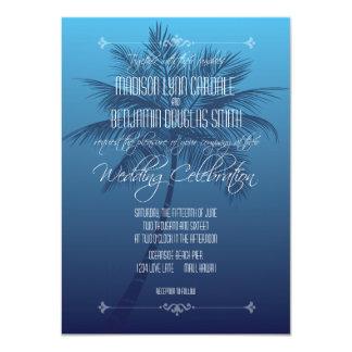ヤシの木のビーチの行先の結婚式招待状 11.4 X 15.9 インビテーションカード
