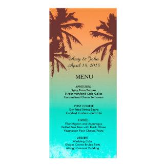 ヤシの木のビーチ結婚式メニューbeach2 カスタムラックカード