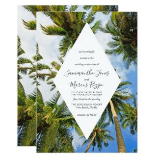 ヤシの木のフロリダの熱帯ビーチ結婚式 カード