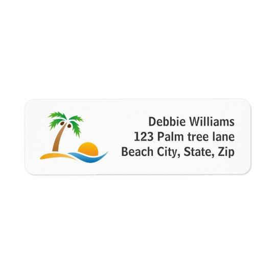 ヤシの木の島の日の出の差出人住所ラベル ラベル