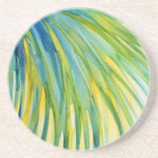 ヤシの木の抽象芸術の水彩画 コースター