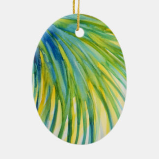 ヤシの木の抽象芸術の水彩画 陶器製卵型オーナメント