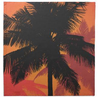 ヤシの木の日没のシルエット ナプキンクロス
