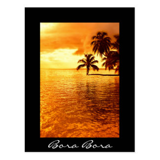 ヤシの木の日没の黒のBora Boraの郵便はがき ポストカード