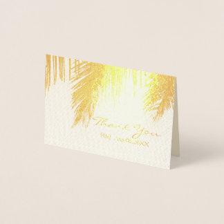 ヤシの木の熱帯行先の結婚式は感謝していしています 箔カード