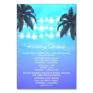 ヤシの木は結婚披露宴をつけます + ホテルカード カード
