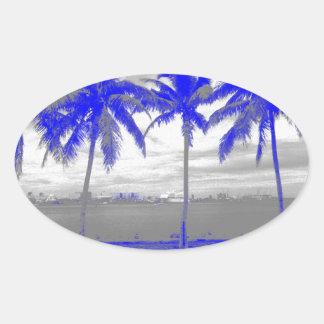 ヤシの木マイアミ、フロリダの青 楕円形シール