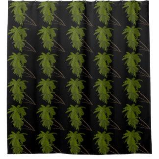 ヤシの木熱帯ハワイのテーマパターン黒 シャワーカーテン