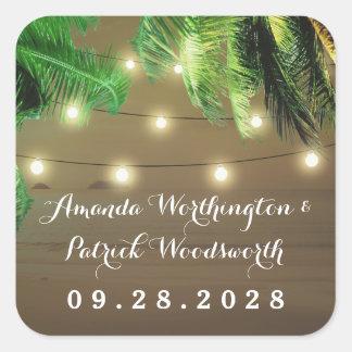 ヤシの木素朴なライトビーチ結婚式の好意 スクエアシール