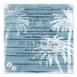 ヤシの木、砂ドルの木製のビーチ結婚式の招待 カード