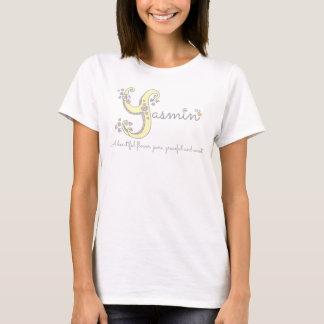 ヤズミンの女の子一流の意味Yのモノグラムのハート Tシャツ