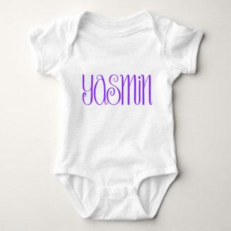 ヤズミンの紫色の幼児Tシャツ ベビーボディスーツ
