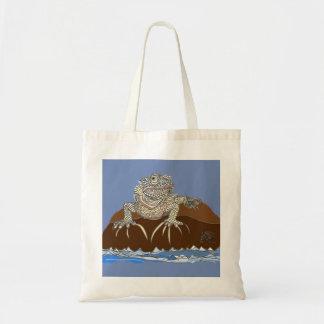 ヤドカリが付いている石のイグアナ トートバッグ