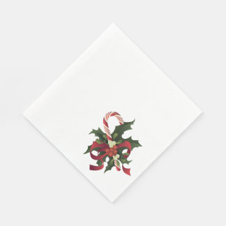 ヤドリギおよびヒイラギのberrのクリスマスのキャンディ・ケーン スタンダードランチョンナプキン