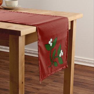 ヤドリギのクリスマスのデザイン ショートテーブルランナー