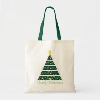 ヤドリギのクリスマスツリーのメリークリスマスの緑のバッグ トートバッグ