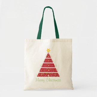 ヤドリギのクリスマスツリーのメリークリスマスの赤いバッグ トートバッグ